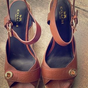 Brown Coach Wedge Sandals